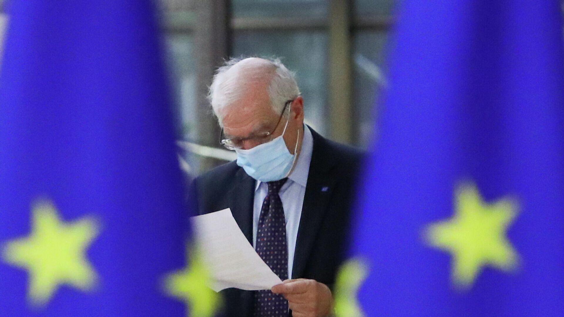 Верховный представитель Евросоюза по иностранным делам и политике безопасности Жозеп Боррель перед началом встречи министров иностранных дел ЕС в Брюсселе - РИА Новости, 1920, 23.03.2021