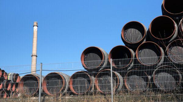 Склад труб для строительства газопровода Северный поток-2 в Германии