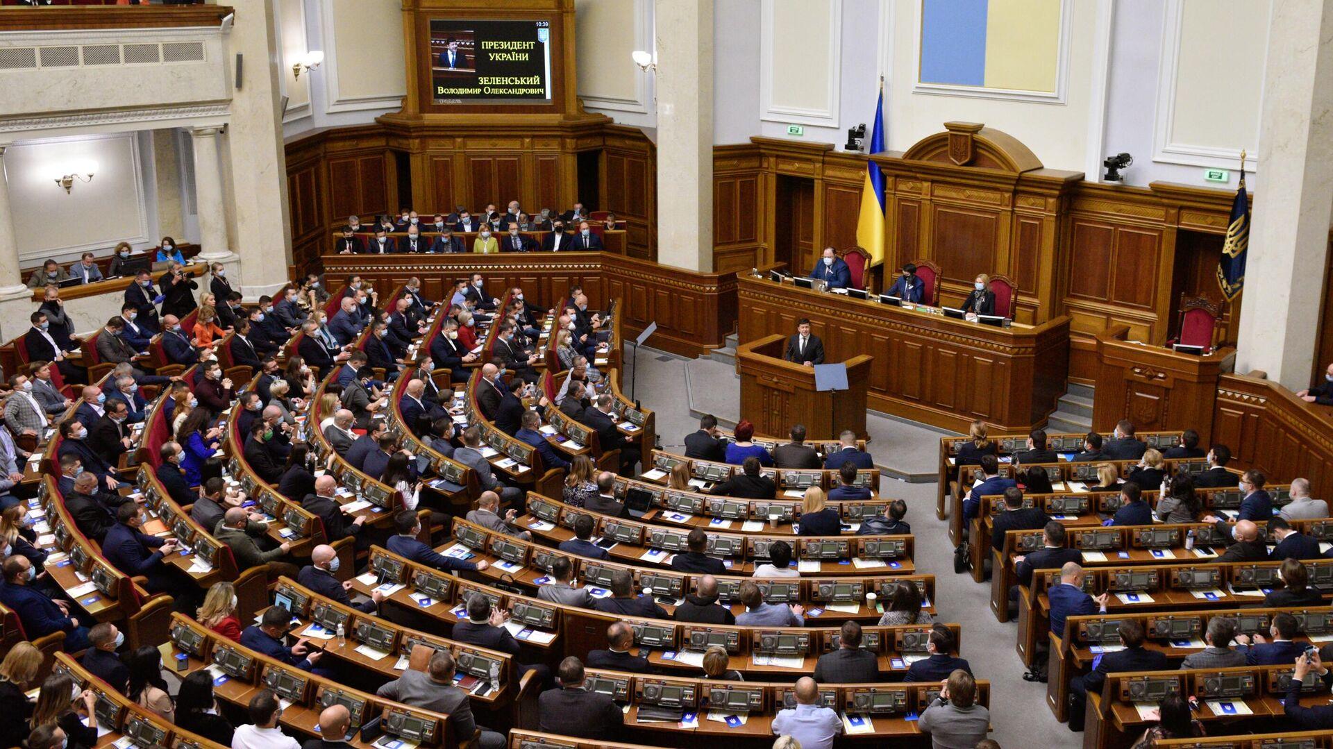 Президент Украины Владимир Зеленский выступает в Верховной Раде  - РИА Новости, 1920, 20.09.2021
