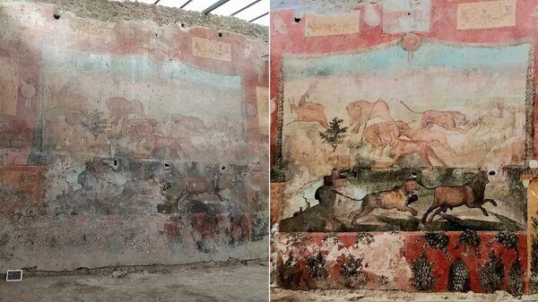 Большая фреска сада Дома Цеи в Помпеях до и после реставрации