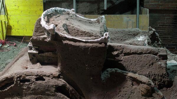 Большая четырехколесная церемониальная колесница, обнаруженная на месте древнеримского города Помпеи