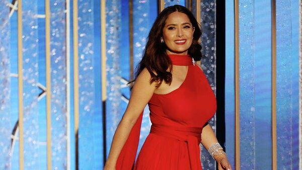 Актриса Сальма Хайек на церемонии вручения премии Золотой глобус