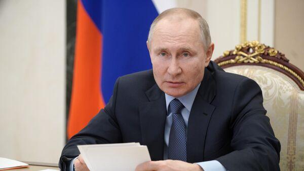 Президент РФ Владимир Путин проводит в режиме видеоконференции совещание по вопросам развития угольной отрасли