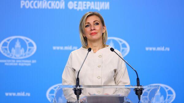 Официальный представитель Министерства иностранных дел России Мария Захарова во время брифинга в Москве.