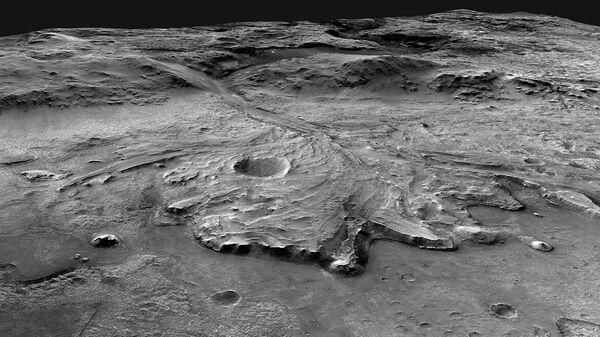Дельта древней реки на поверхности Марса