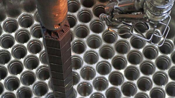 Загрузка имитаторов тепловыделяющих сборок (ИТВС) в реактор второго энергоблока Белорусской АЭС
