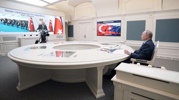 Президент РФ Владимир Путин совместно с президентом Турции Реджепом Тайипом Эрдоганом в формате видеоконференции принимает участие в торжественной церемонии по случаю начала сооружения третьего энергоблока АЭС Аккую
