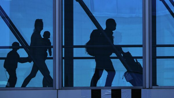 Семья в переходе терминала аэропорта Домодедово