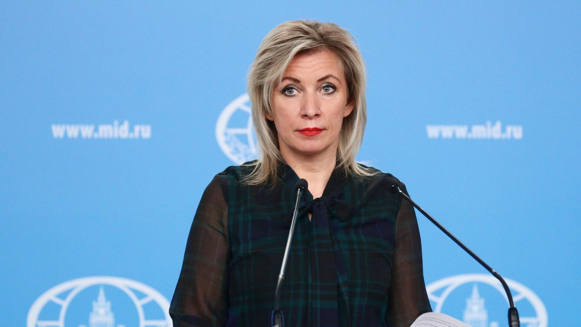 Официальный представитель Министерства иностранных дел России Мария Захарова во время брифинга - РИА Новости, 1920, 29.04.2021