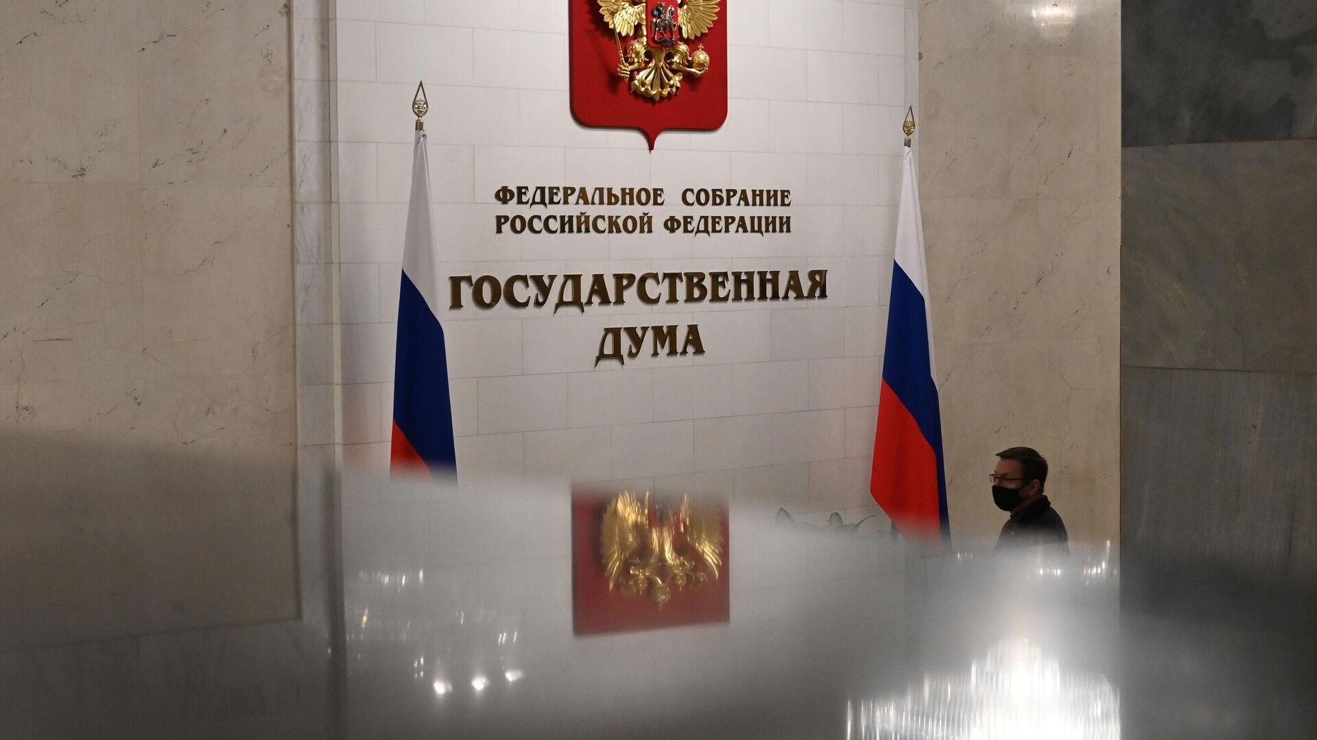 Мужчина в здании Государственной думы РФ - РИА Новости, 1920, 17.03.2021