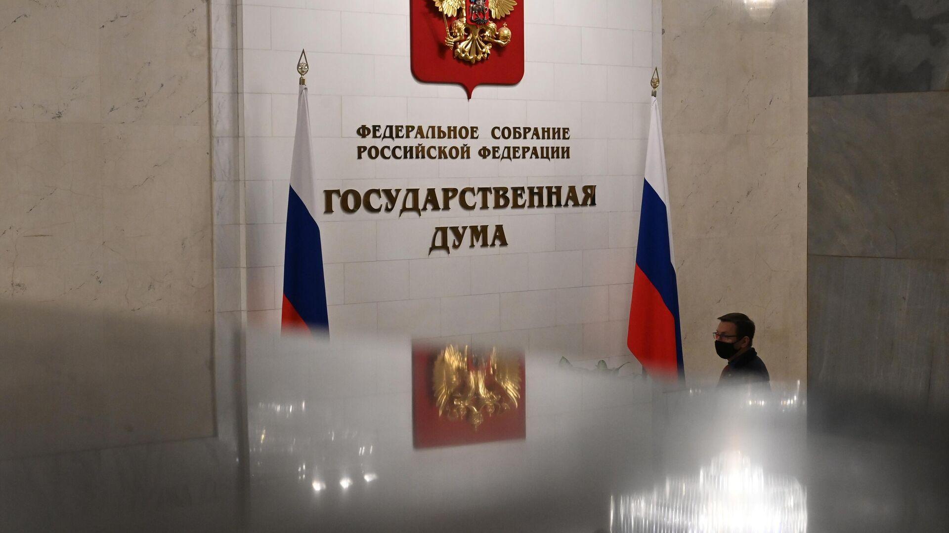 Мужчина в здании Государственной думы РФ - РИА Новости, 1920, 21.04.2021