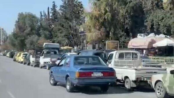 Топливный кризис в Сирии: километровые очереди на заправку в Дамаске