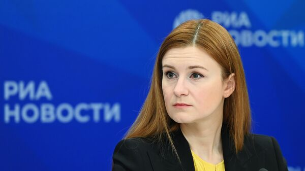 Мария Бутина во время презентации фонда Своих не бросаем в Международном мультимедийном пресс-центре МИА Россия сегодня
