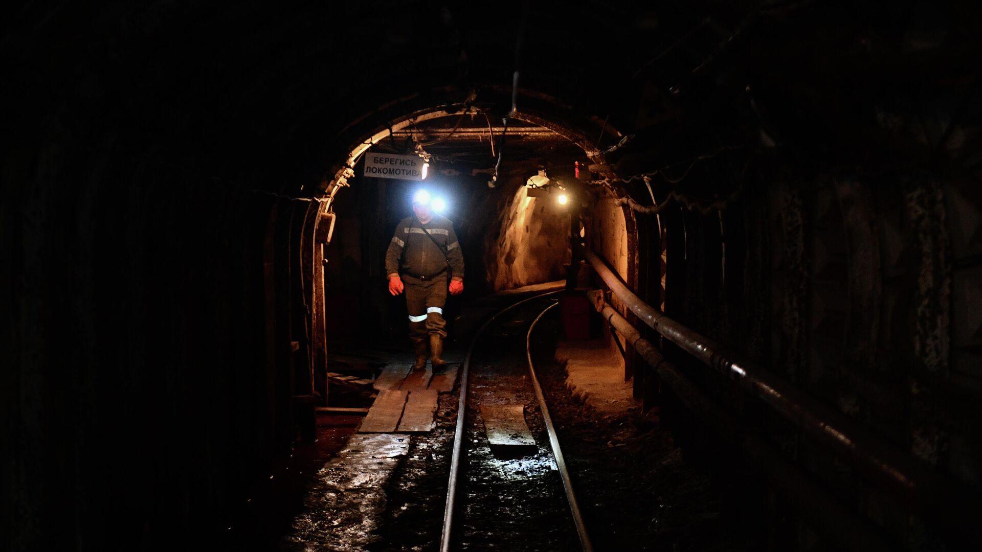 Рабочий в шахте Мариинского изумрудного прииска в Свердловской области - РИА Новости, 1920, 13.09.2021