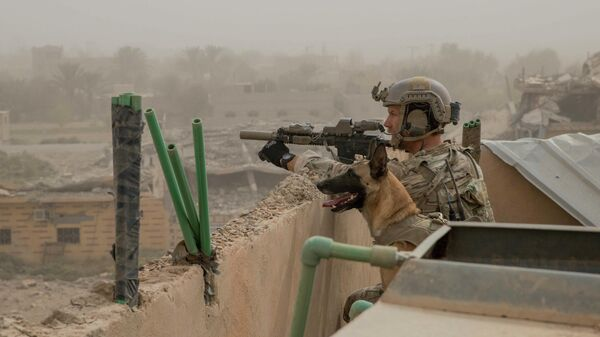 Американский военнослужащий в провинции Дейр-эз-Зор, Сирия