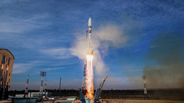 Старт ракеты-носителя Союз-2.1б с разгонным блоком Фрегат с космодрома Восточный в Амурской области