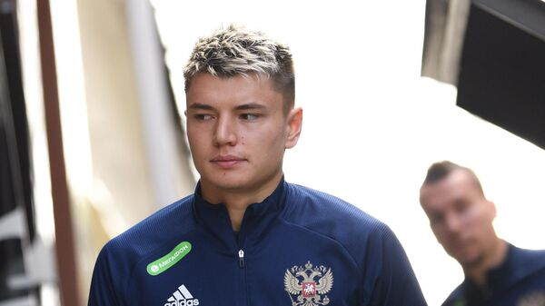 Игрок сборной России Андрей Мостовой на тренировке перед отборочным матчем ЧМ-2022 против сборной Словении.