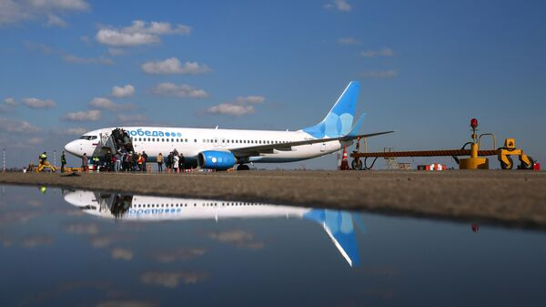 Самолет авиакомпании Победа в Международном аэропорту Краснодар имени Екатерины II