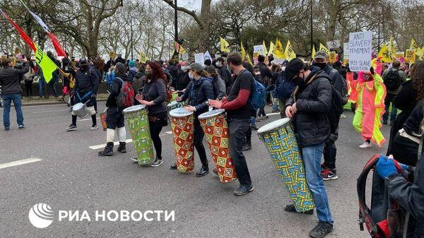 Митинг против закона о расширении полномочий сотрудников правоохранительных органов проходит в Гайд-парке, Лондон