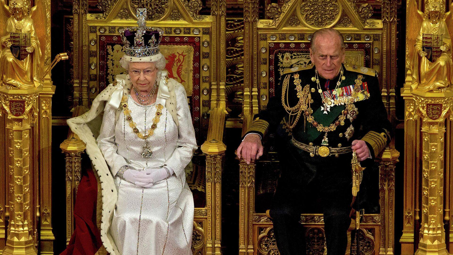 Королева Великобритании Елизавета II и ее супруг герцог Эдинбургский  - РИА Новости, 1920, 09.04.2021