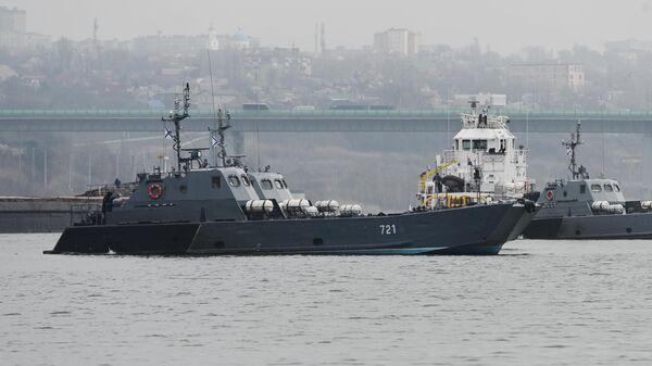 Десантные катера Каспийской флотилии во время стоянки на реке Дон в окрестностях Ростова-на-Дону
