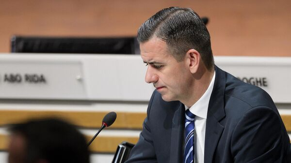 This photo taken on February 26, 2016 shows acting FIFA secretary general Markus Kattner during the extraordinary FIFA Congress in Zurich. - FIFA on May 23, 2016 sacked deputy general secretary Markus Kattner for financial 'breaches' involving millions of dollars, according to sources close to an inquiry by the world body. (Photo by FABRICE COFFRINI / AFP)