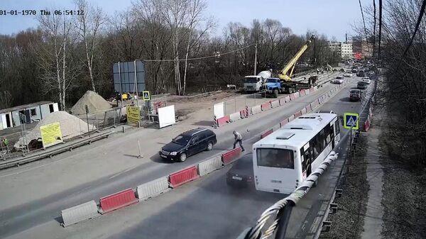 Кадры массового ДТП с участием автобуса в Рязани