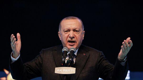 Президент Турции Реджеп Тайип Эрдоган во время выступления