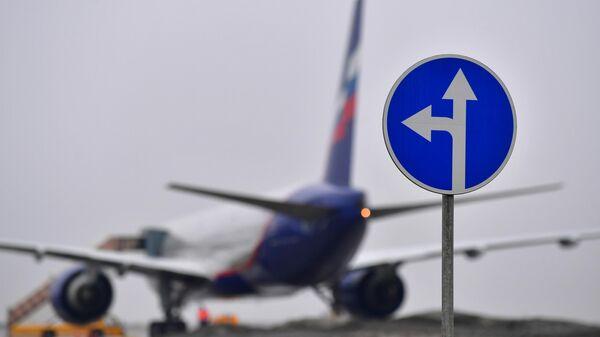 Дорожный знак на территории аэропорта Шереметьево