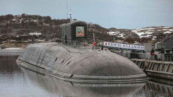 Атомная подводная лодка К-549 Князь Владимир на причале пункта базирования Северного флота России в Гаджиево