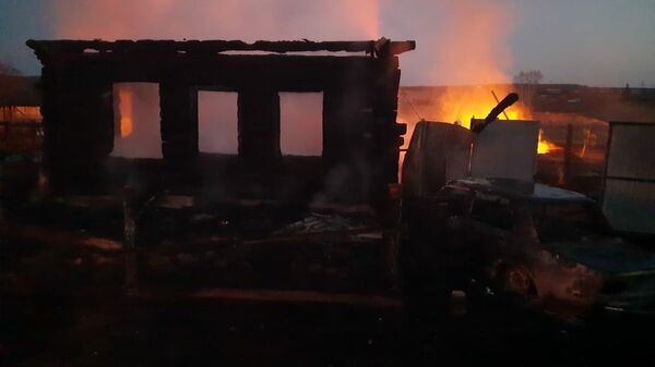 Пожар в частном доме в селе Бызово, Урал