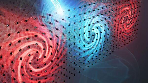 Художественное изображение движения полярных вихрей в сегнетоэлектрическом материале