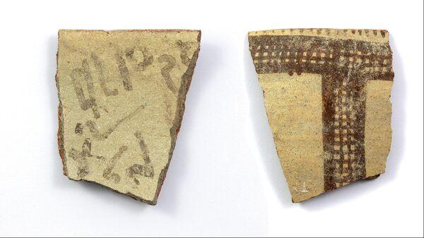 Надпись позднего бронзового века на фрагменте кувшина из Тель-Лахиша, Израиль
