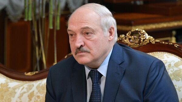 Президент Белоруссии Александр Лукашенко во время встречи с председателем правительства РФ Михаилом Мишустиным во Дворце Независимости в Минске