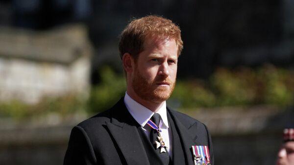 Принц Гарри во время похорон герцога Эдинбургского Филиппа