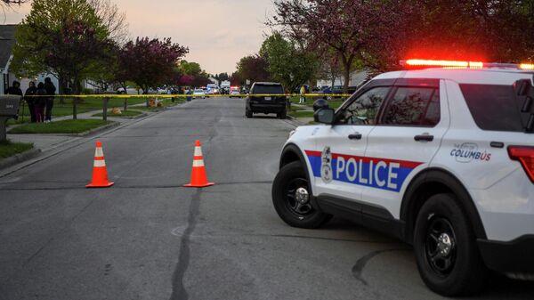 Полицейский автомобиль в районе места убийства Макайи Брайант в городе Колумбус