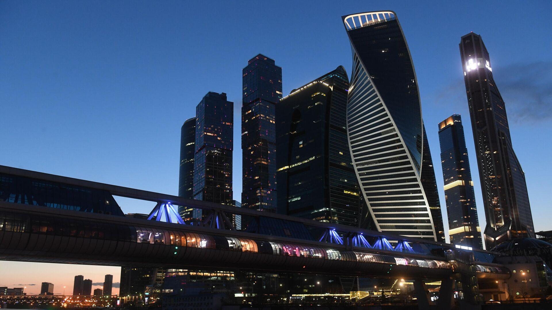 Вид на мост Багратион и московский международный деловой центр Москва-Сити - РИА Новости, 1920, 21.04.2021