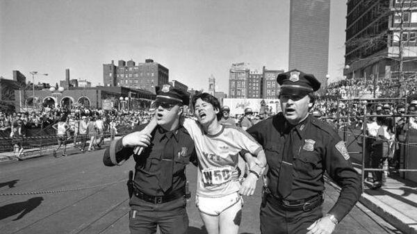 Американская бегунья Рози Руис на Бостонском марафоне