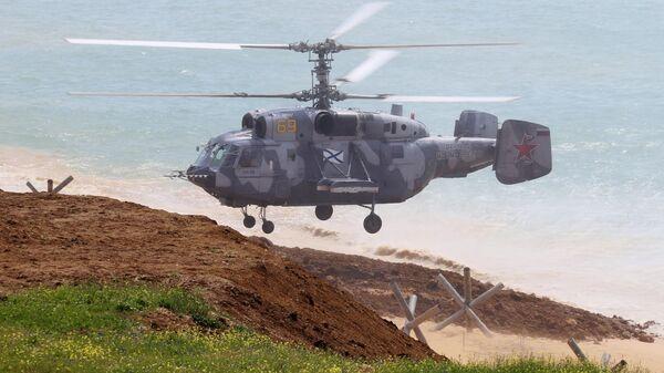 Вертолет Ка-29 во время масштабных учений войск Южного военного округа и ВДВ на полигоне Опук в Крыму