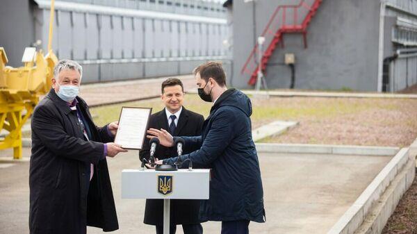 Президент Украины Владимир Зеленский на вручении лицензии на эксплуатацию ХОЯТ-2