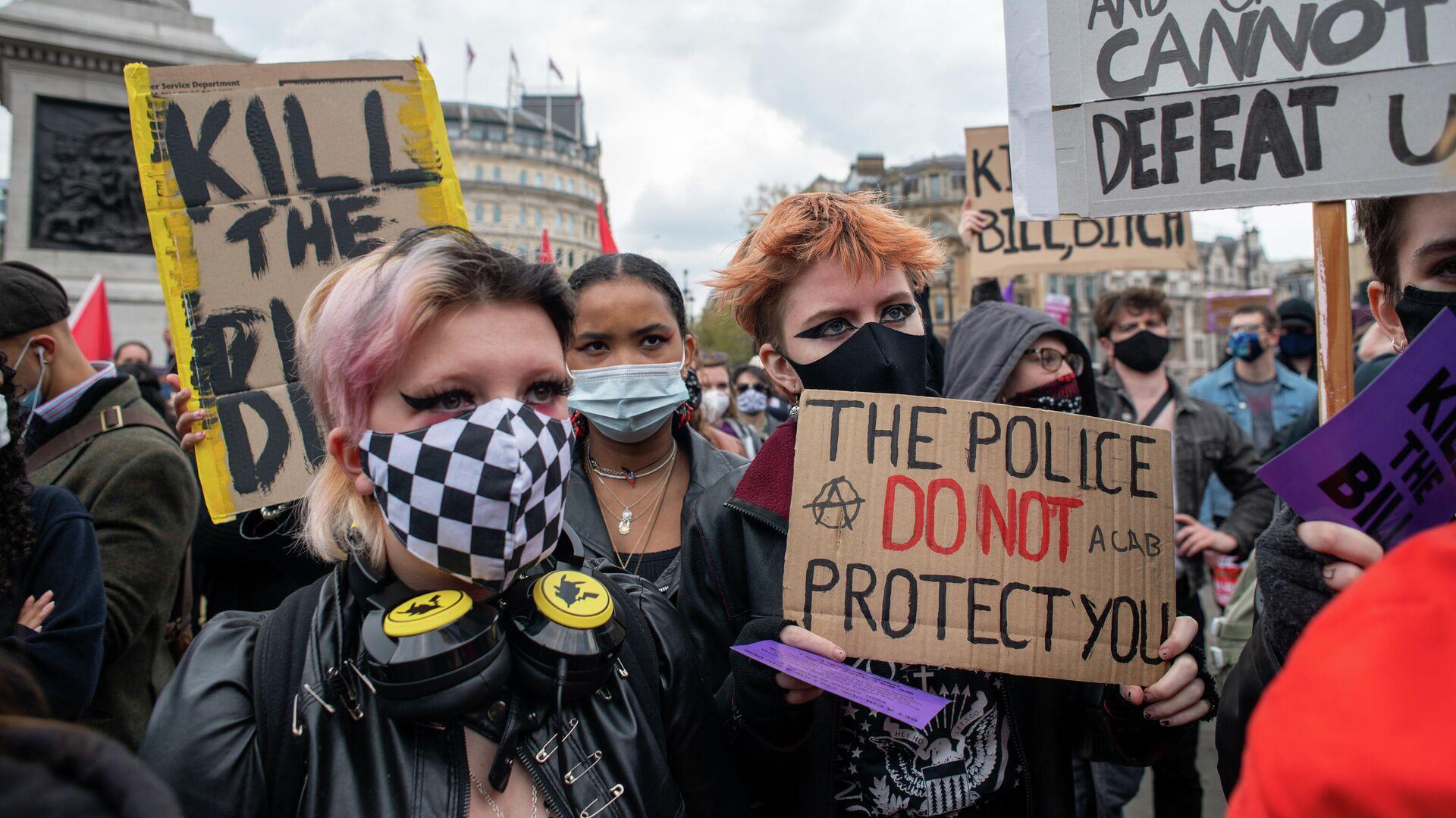 Протесты против закона о расширении полномочий полиции в Великобритании - РИА Новости, 1920, 24.07.2021