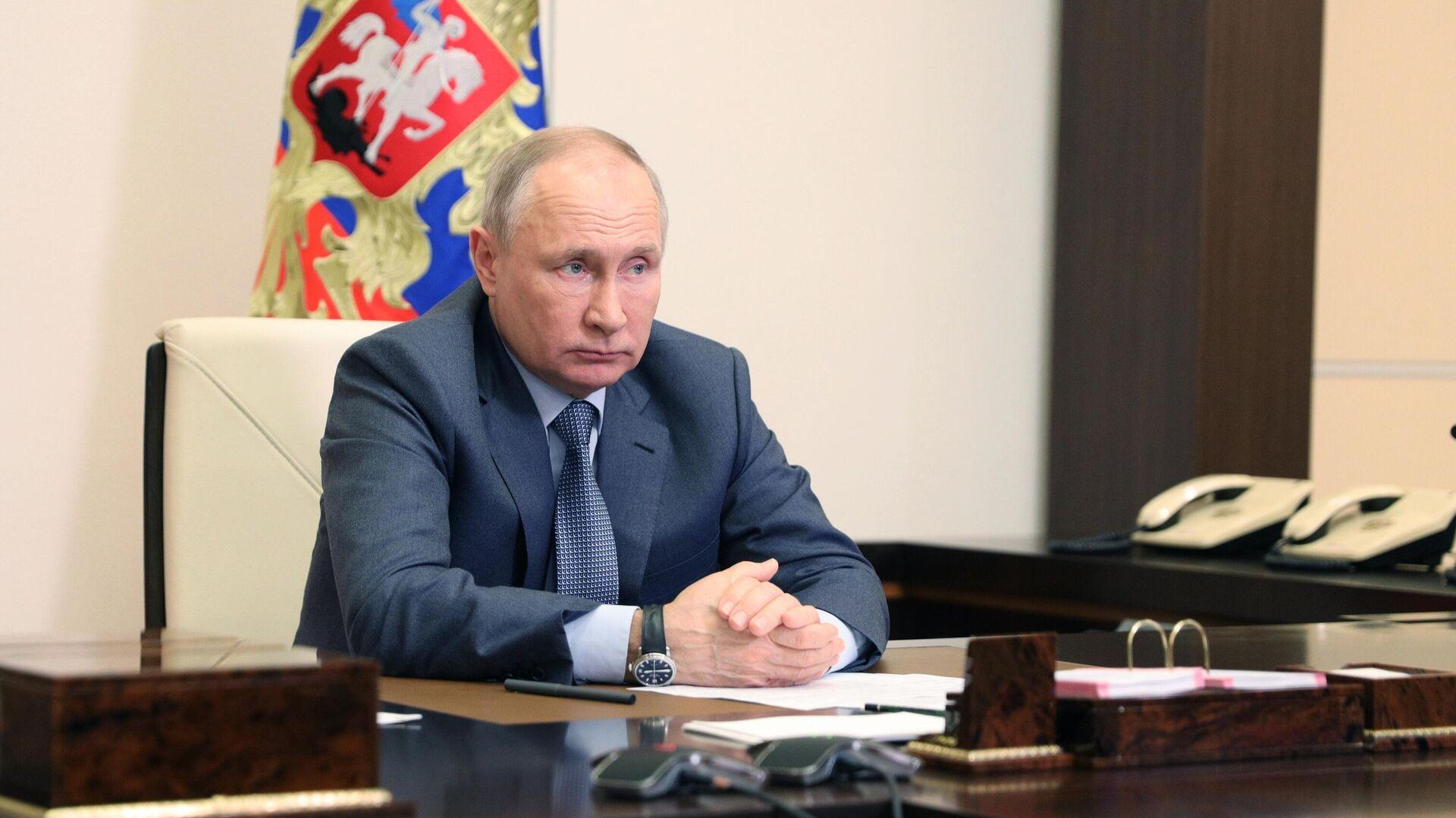 Президент РФ Владимир Путин проводит в режиме видеоконференции совещание с членами правительства РФ - РИА Новости, 1920, 14.05.2021