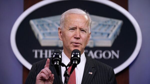 Президент США Джо Байден во время выступления в Пентагоне