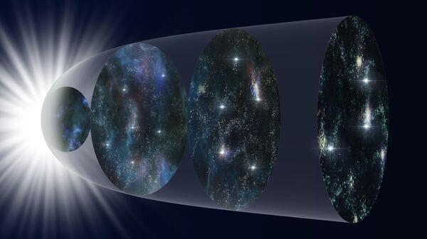 Схематическое изображение расширения Вселенной на протяжении ее истории