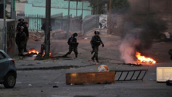 Пограничная полиция Израиля во время столкновений с палестинцами в Восточном Иерусалиме