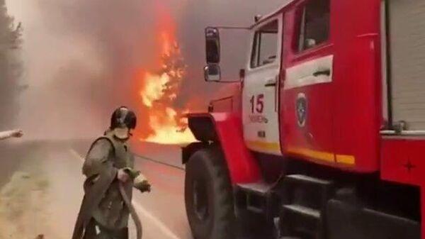 Мощный лесной пожар на участке федеральной трассы Екатеринбург – Тюмень