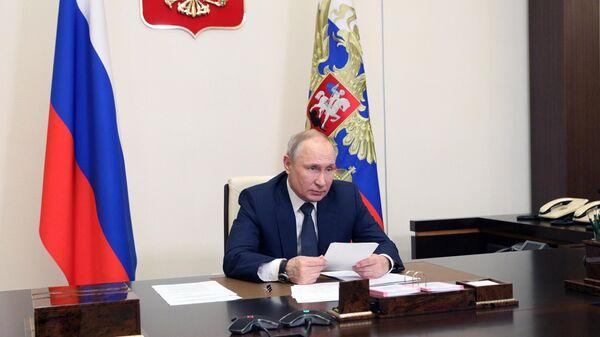 Президент России Владимир Путин проводит в режиме видеоконференции совещание по реализации отдельных положений его послания Федеральному собранию