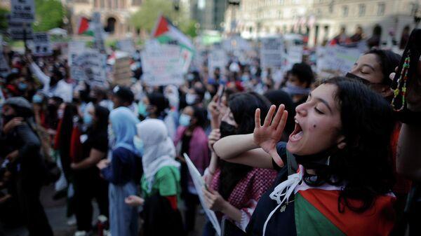 Акция в поддержку Палестины в Бостоне, США