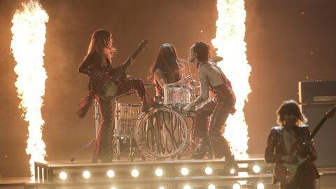 Группа Maneskin (Италия) выступает в финале песенного конкурса Евровидение-2021