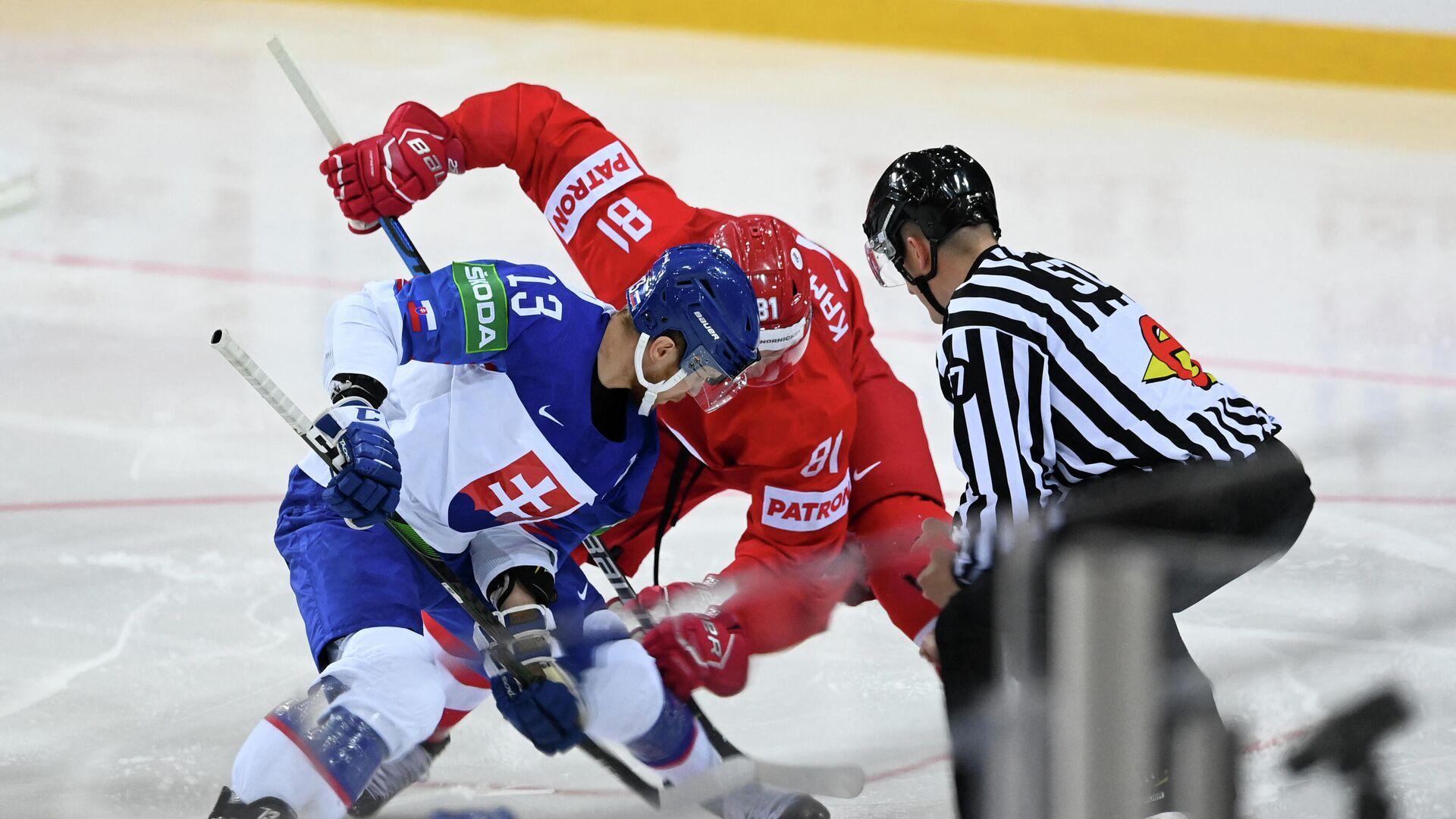 Игровой момент матча чемпионата мира по хоккею Словакия - Россия - РИА Новости, 1920, 24.05.2021